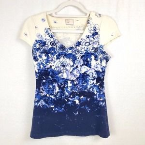 Anthropologie   Postmark Blue Floral Top Size XS